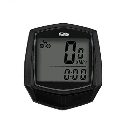 Velocímetro de la Bici, Bicicletas odomete Wired Ciclo de la Bici a Prueba de Agua cronómetro Moto odómetro del velocímetro con Pantalla LCD (Negro)