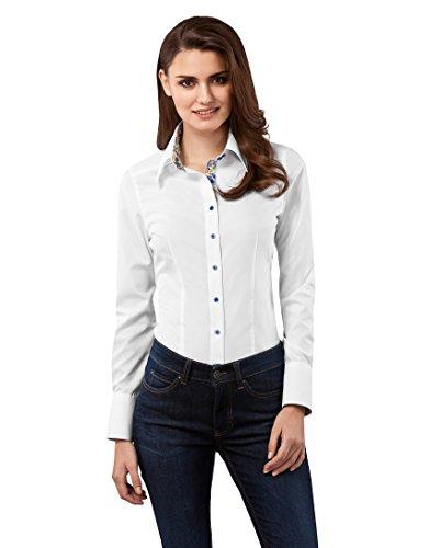 Vincenzo Boretti Damen Bluse tailliert 100% Baumwolle bügelfrei Langarm Hemdbluse elegant festlich Kent-Kragen auch für Business und unter Pullover weiß 36