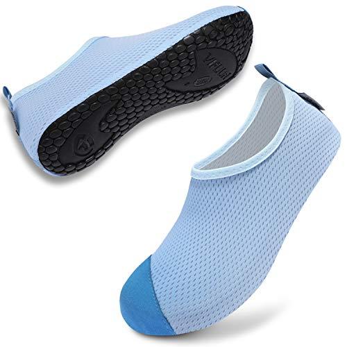 VIFUUR Zapatos de Agua Hombre Mujer Escarpines Zapatillas de Yoga Descalzos Secado rápido para bucear al Aire Libre en la Playa Azul-M EU38/39