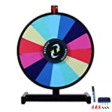 ROVSUN 18'' Tabletop Spinning Prize Wheel 14 Color Slots Spinner with Iron Base&Stand, Dry Erase&Mark Pen Included, Win Fortune Spin Game, for Trade Show Carnival Casino Party Market Raffle