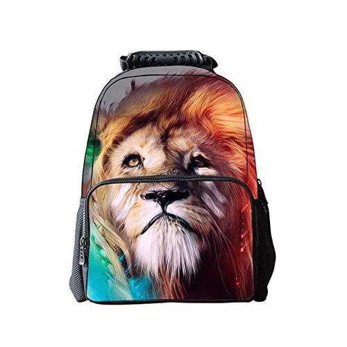 Somvierxzb Lion Pattern Universal-Stil: Student Rucksack Schulrucksack Entlasten Schulterdruck Computer-Schulranzen for Grundschüler Grund