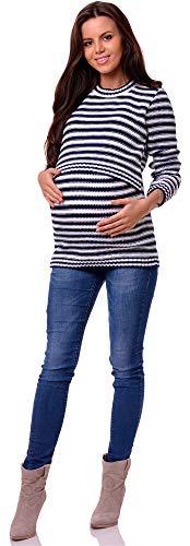 Be Mammy Damen Umstandspullover mit Stillfunktion BESE494(Marineblau/Weiß, L/XL)