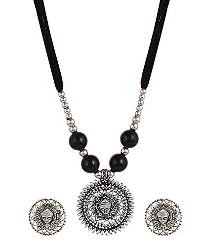 YouBella Fashion Jewellery Antique German Silver Oxidised Plated Tribal Cotton Thread Jewellery Necklace Earring Set for Women & Girls.(Valentine Gift Special). (Black)