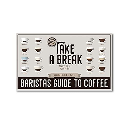 Guía de baristas para impresiones de café, póster para tomar un descanso, lienzo de café,decoración artística de pared, estilos, pintura artística, imagen de 24x40 pulgadas x1 sin marco