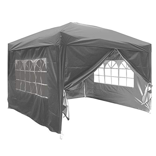 Greenbay Anthracite Pop-up Gazebo Marquee Canopy with 4 Side Panels and Carrybag - 3m x 3m