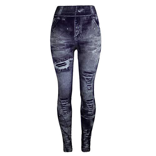 OtoñO/Invierno Leggings con Estampado De Mezclilla De ImitacióN Leggings Pantalones De Mujer Pantalones Multicolores A La Cadera Recortados