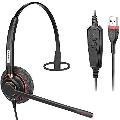 Arama USB Headset PC für Business Skype Computer, SoftPhone, Call Center Office, Mono Headset mit Noise Cancelling Mikrofon & mit Lautstärkeregler Kristallklarem Chat Ultra Leicht &Komfort