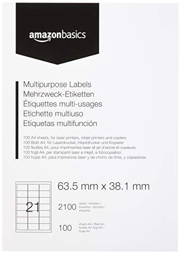 AmazonBasics - Etiquetas de dirección multiusos, 63.5mm x 38.1mm, 100 hojas, 21 etiquetas por hoja, 2100 etiquetas