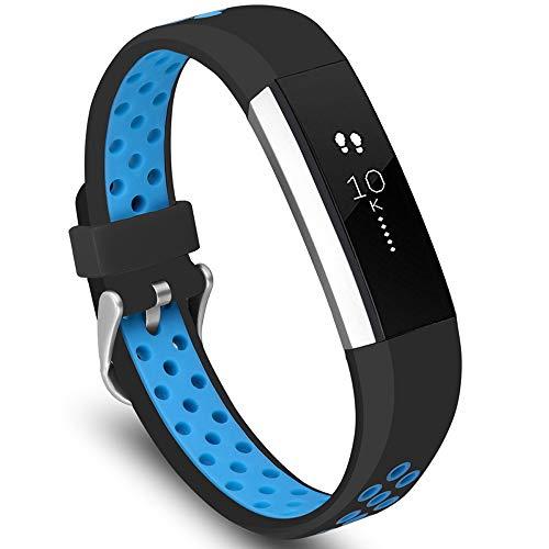 KINOEHOO Cinturino Compatibile con Fitbit Alta HR Cinturini di Ricambio in Silicone.(Nero Blu)