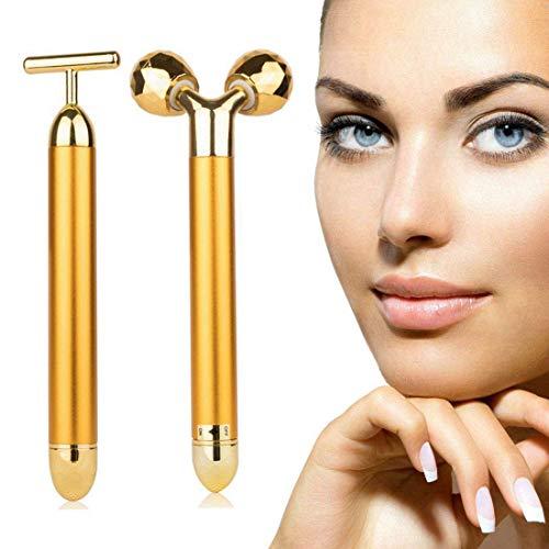 24k Gold Skin Care Face Massager, 3D Roller Electric Sonic Depuffer, Energy Beauty Bar Package Combination