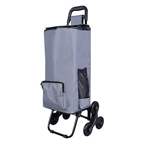 LOMOS Stabiler klappbarer Einkaufstrolley mit Treppensteiger-Funktion, in grau, für jung und alt