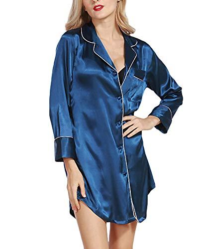 Mujeres Ropa De Dormir Pijama De Seda De Satén Camisón De Botones Y Bolsillo Sexy La Solapa Manga Larga Sleepwear