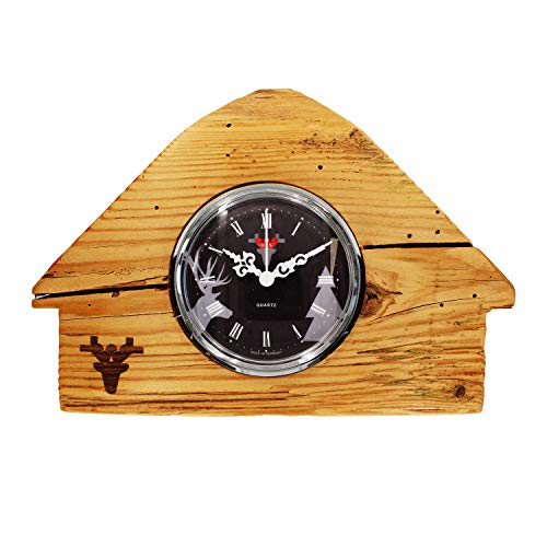 Selava Montre en Bois dalthol – Maison de forêt Noire – Quartz UTS – Cadran Noir – Pile Incluse – Dimensions : 110 x 160 x 110 mm – Poids : env. 800 g.