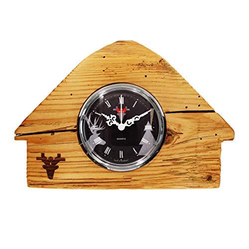 SELVA Altholz-Uhr – Schwarzwaldhäusle – UTS-Quarz – Zifferblatt Schwarz/Weiß – Inkl. Batterie – Maße: 110 x 160 x 110 mm – Gewicht: ca. 800 g (Schwarz)