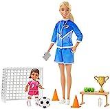 Barbie Quiero Ser Entrenadora de Fútbol con niña morena, muñeca con accesorios (Mattel GLM47)