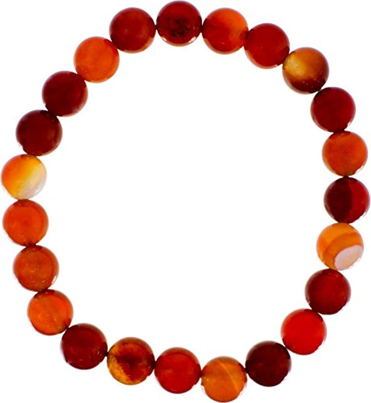 Elastic Bracelet 8mm Round Beads - Brown & Red Agate