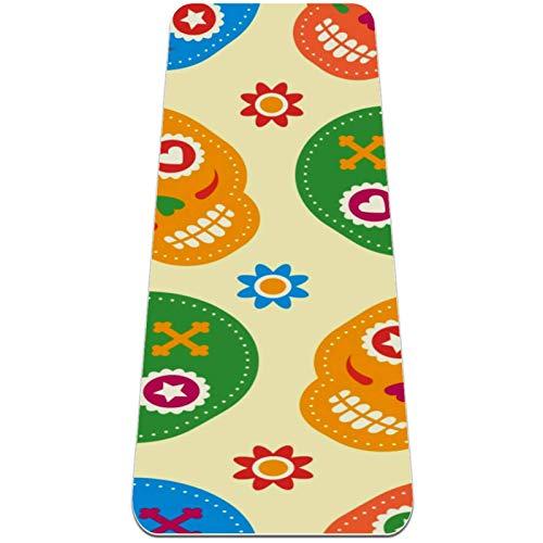 Esterilla de yoga antideslizante de 0,6 cm de grosor con correa de transporte para todos los tipos de ejercicio, yoga y pilates (72' x 24' x 6mm de grosor) coloridas calaveras de azúcar