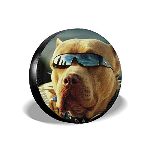 N / A Cubierta De Neumático,Funda Cubre Rueda De Recambio,Pitbull Dogs with Cool Glasses Universal Fit Protectores De Ruedas,Cubierta De Rueda Impermeable 16In