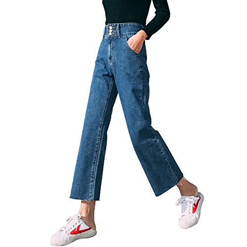 Olici MDRW-Wide Leg Jeans Vrouwelijke Taille Losse Lente Negen Broek Slim Harajuku Wind Straight Jeans