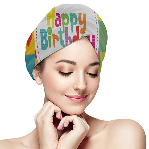 XBFHG Happy Birthday Card Design Vector Illustration Hair Towel Wrap Dry Hair Cap Towel Soft Absorbent Rapidly Dry Hair Turban Hair Wrap Drying Towels Dry Sowels for Hair Pack of Hair Towels