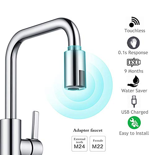 MOSINITTY Intelligenter Wasserhahn, USB-Ladegerät, wassersparender Sensor, berührungsloser automatischer Wasserhahn, Infrarot-Sensor-Adapter für Küche, Badezimmer, Restaurant, Schulen