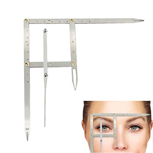 ANGGREK Microblading Caliper Ratio Regla de medición de cejas Herramienta de medición de plantilla de maquillaje permanente Regla de equilibrio de posicionamiento de tres puntos Acero inoxidable