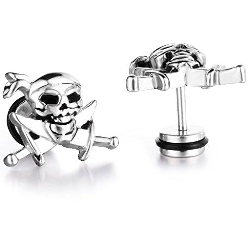 Stayoung Jewellery Biker–Acero inoxidable Pendientes de tuerca de calavera Piratas Set 2pcs color plata para hombre regalo de Navidad, 1par