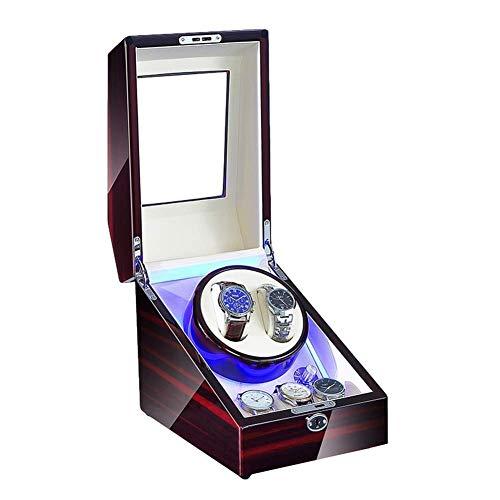 FGVBC Enrollador de Reloj De Cuerda automática con luz LED Caja de enrollador de Reloj Suave Almohada de Reloj Adaptador de CA y Motor silencioso Alimentado por batería Happy Life