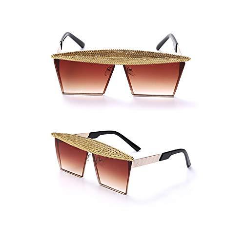 SXRAI Gafas de Sol cuadradas Mujer Hombre Moda Metal Gafas de Sol Gafas Uv400 Hombres,C3