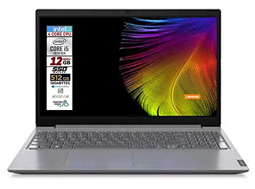 Notebook Lenovo SLIM SSD, Intel i5 di 10th GEN. 4 Core, SSD da 512 Gb, 12Gb DDR4, Display Full Hd da 15,6 Antiglare, webcam, 3 usb, hdmi, Win10 Pro, Libre Office, Pronto All'uso gar. Italia