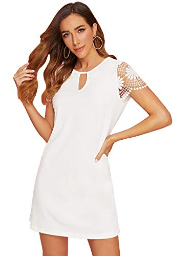 Women's Round Neck Embroidery Mesh Short Sleeve T Shirt Dress $9.99 (50% Off at checkout)