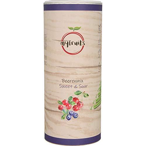 myfruits® Beerenmix - Sweet & Sour - Mischung aus gefriergetrockneten Früchten - Ohne Zuckerzusatz - Sauerkirschen - Cranberries - Wildheidelbeeren (300g)