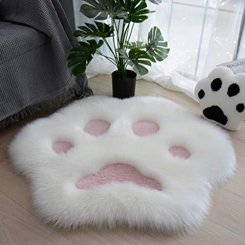 KLSAMNM Lindo patrón de pata de gato suave alfombra de felpa hogar sofá mesa de centro piso dormitorio alfombra decorativa