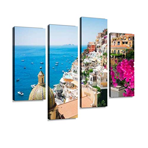 YKing1 Positano Resort, Italy Wall Art Painting Pictures Print On Canvas Stretched & Framed Artworks Modern Hanging Posters Home Decor 4PANEL