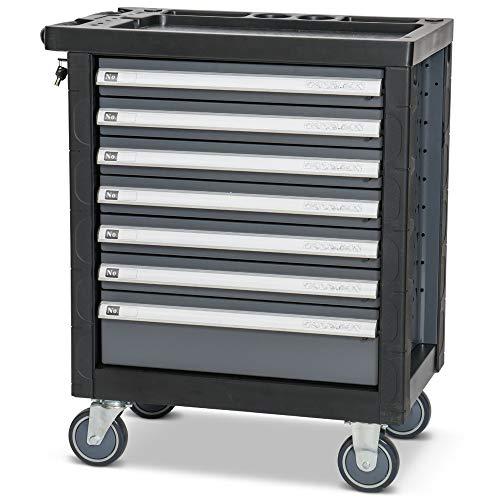 Hemmdal PRO Werkzeugwagen leer, anthrazit – 91 x 77 x 46 cm – mobiler Werkstattwagen mit 7 Schubladen – ohne Werkzeug – stabiler Wagen mit automatischer Schubladenarretierung