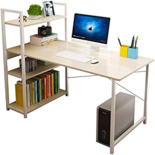 Smilee Home Office Desk with Shelves, Computer Desk Workstation, Sturdy Metal Frame Compact Studying Table for Home and Of...