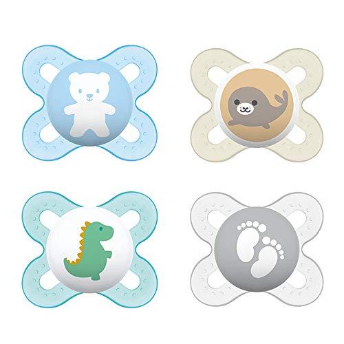 MAM Chupetes de silicona Skin Soft para recién nacidos y prematuros extra pequeños    0 – 2 meses    Juego de 4    Incluye 2 cajas de transporte para esterilizar