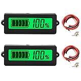 Youmile 2Pcs Medidor de capacidad de batería Indicador de capacidad de batería Monitor de DC 8-63V Probador de de plomo y ácido 12V 24V 36V 48 V LCD Batería de litio digital para automóvil Vehículo