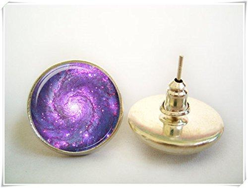 Elf House - Pendientes de nebulosa morado, adornos exquisitos, joyería de cristal cúpula hecha a mano