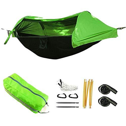 2 personen Camping hangmat met net Tent Boomriemen Lichtgewicht Zwaar uitgevoerd Waterbestendig Winddicht Draagbare nylon hangmat om buiten te wandelen strand Achtertuin