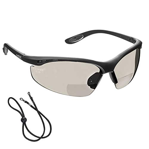 voltX 'Constructor' BIFOKALE Schutzbrille mit Lesehilfe (Verspiegelte +2.0 Dioptrie) CE EN166F zertifiziert/Sportbrille für Radler enthält Sicherheitsband + Anti-Fog UV400 Linse Bifocal Safety Glasses