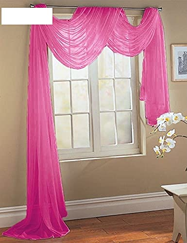 Comfy Deal Beautiful Elegance Fully Stitched Window Sheer Voile Scarf Curtain (Hot Pink)