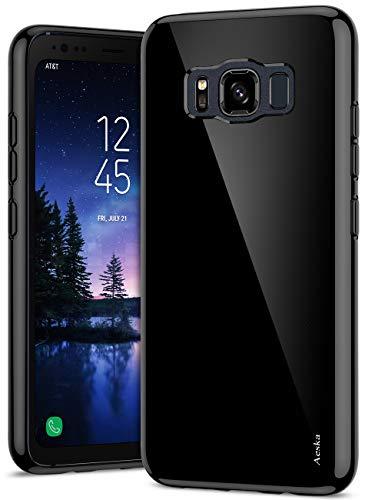 Aeska Galaxy S8 Active Case, Ultra [Slim Thin] Flexible TPU Gel Rubber Soft Skin Silicone Protective Case Cover for Samsung Galaxy S8 Active (Black)