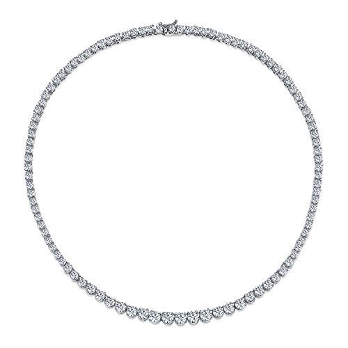 Bling Jewelry Bridal Cubic Zirconia Graduate Rotonda Solitaire AAA CZ Tennis Collana per Donne in Ottone Placcato in Argento