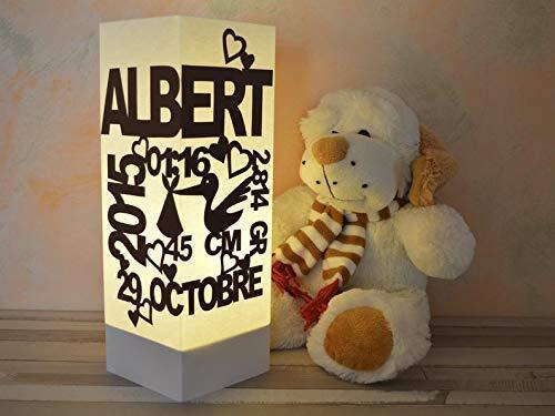 Nachtlichtt mit den Daten des Babys, Personalisierte Lampe, Kinderbeleuchtung