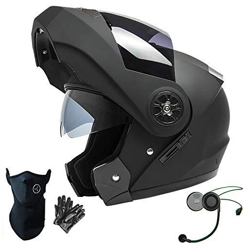 Dongjiuk Caschi Moto Bluetooth - Flip up modulare Integrato con Doppia Visiera, Casco Integrale per Uomo/Donna, Lente antiappannamento/Impermeabile/Traspirante/Nero Opaco