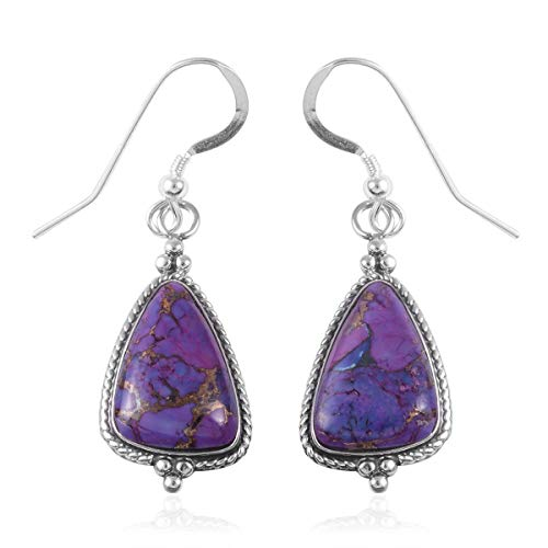 SANTA FE Style Dangle Drop Earrings 925 Sterling Silver Purple Turquoise Southwest for Women Graduation Gifts for Her Jewelry