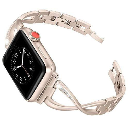 Aiktet Correa de metal para reloj de pulsera con diamantes de imitación, compatible con Apple iWatch Series SE 6, 5, 4, 2, 1, 42 mm, 44 mm, oro