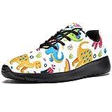 TIZORAX Zapatillas de correr para hombres coloridos dinosaurios de dibujos animados de moda zapatillas de malla transpirable caminar senderismo tenis zapatos, color Multicolor, talla 39 2/3 EU