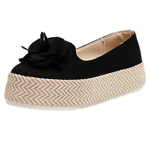 Malbaba Ocio Moda para mujer Cuñas redondas del dedo del pie de gran tamaño Slip-on zapatos casuales